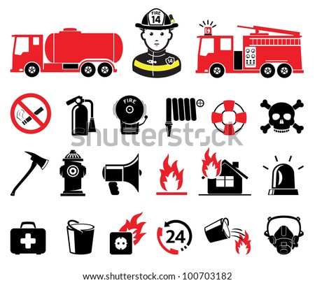 Firefighter icons, set - stock vector