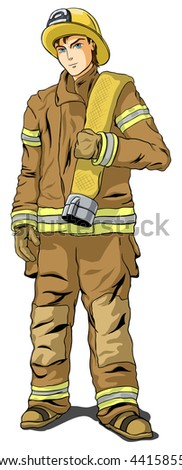 Firefighter in shape on a white background - stock vector