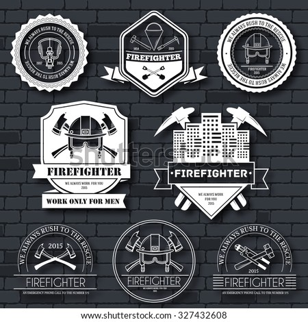 firefighter label template emblem element your stock