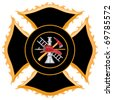 Firefighter Maltese Cross Symbol is six color art that can be easily edited or separated for print or screen print. Each major element is on a separate layer for your convenience. - stock vector