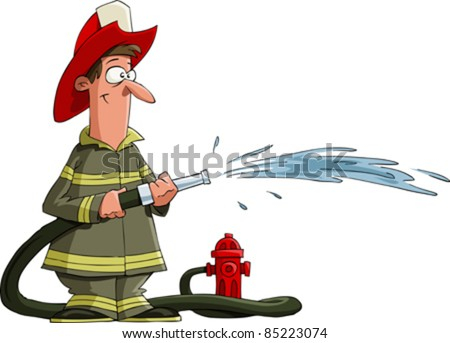 Firefighter pours from a fire hose, vector - stock vector