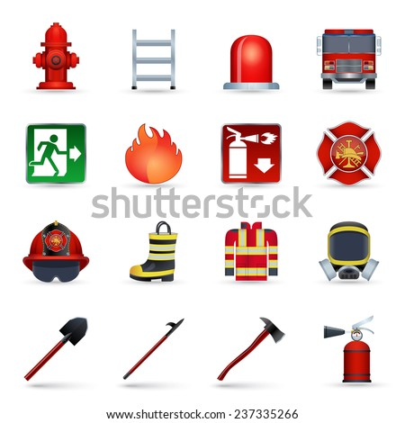 Firefighter realistic icons set with axe helmet emblem mask isolated vector illustration - stock vector