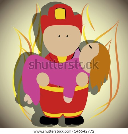 firefighter rescuing a woman and holding it in his arms, background fire flames. - stock vector