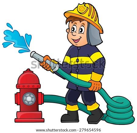Firefighter theme image 1 - eps10 vector illustration. - stock vector