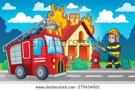Firefighter theme image 4 - eps10 vector illustration. - stock vector