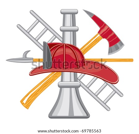 Firefighter Tools Logo is a five color illustration that can be easily edited or separated for print or screen print. Each tool is on a separate layer for your convenience. - stock vector