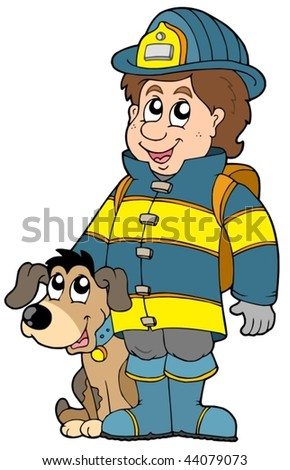 Firefighter with dog - vector illustration. - stock vector