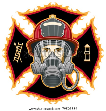 Firefighter with Mask and Axes is an illustration of the head of a firefighter with a helmet and mask in front of a cross. - stock vector