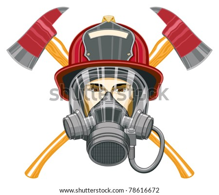 Firefighter with Mask and Axes is an illustration of the head of a firefighter with a mask on and axes behind him. - stock vector