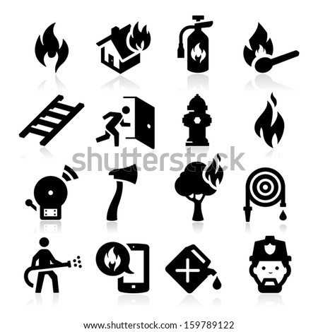 Firefighting icons - stock vector