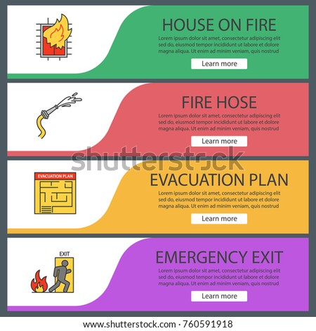 Firefighting web banner templates set house stock vector 760591918 firefighting web banner templates set house on fire evacuation plan hose emergency pronofoot35fo Images