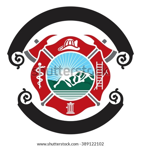 fireman emblem fire department symbol logo stock vector hd royalty rh shutterstock com fire department free vector chicago fire dept logo vector