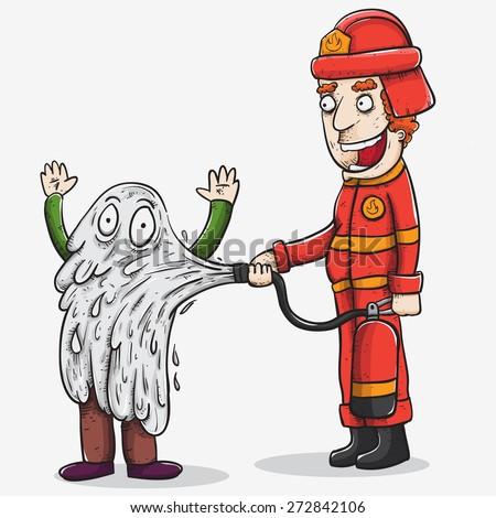 fireman gone wrong - stock vector