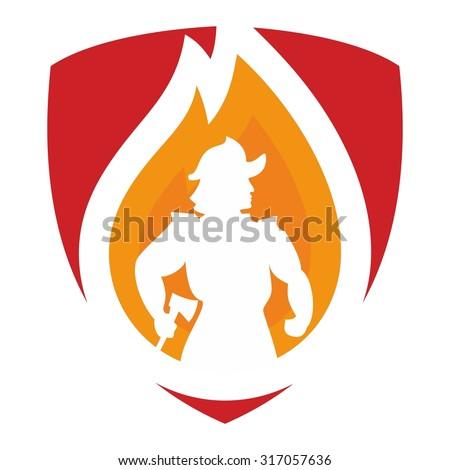 fireman logo - stock vector
