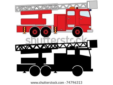 Fireman transportation 4 - stock vector