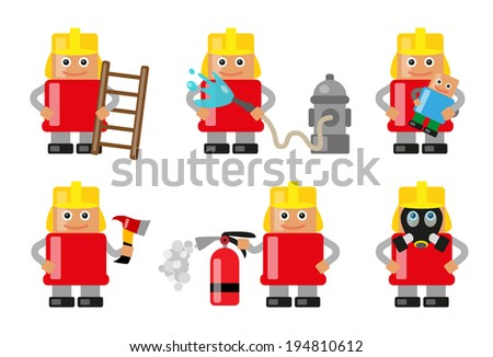 Fireman with various objects and situations