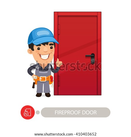 Fireproof Door with Cartoon Worker. In the EPS file, each element is grouped separately. Clipping paths included. - stock vector