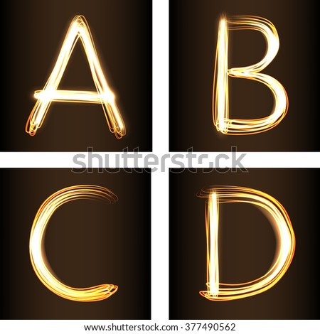 Fireshow style set of letters A,B,C, and D, vector illustration. Part of collection letters and numbers  in this style - stock vector