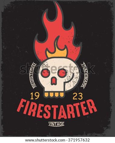 Firestarter. Vintage tee print design - stock vector