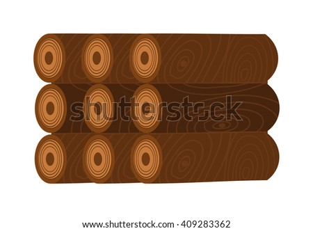 Firewood stack vector wooden material. Firewood  stacked wooden blocks. Firewood stack energy industry. Firewood stack vector illustration. Firewood stack wood isolated. - stock vector