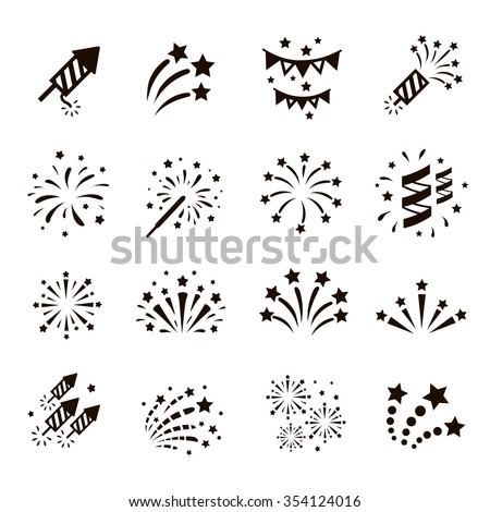 Firework icon set with petard, stars. Festival and event, celebrate and party. Vector  - stock vector