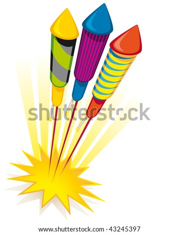 Firework rockets on white background - stock vector