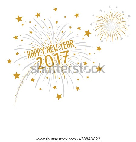 Firework with Happy new year 2017 on white background
