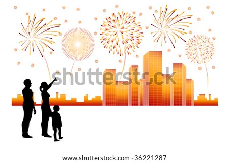 Fireworks above city panorama - vector art - stock vector