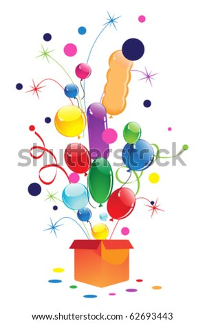 Fireworks and balloons on a white background
