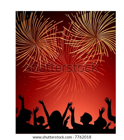 fireworks and crowd silhouette with small sparks (people are one unit) - stock vector