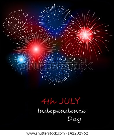 Fireworks background for 4th of July - stock vector