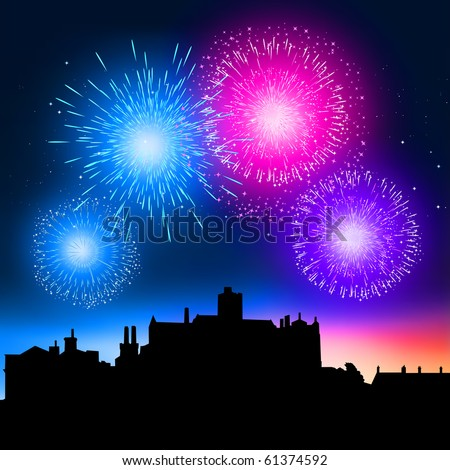 Fireworks coming to life over a city at night. - stock vector
