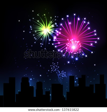 Fireworks Display over the Night City, vector illustrated background - stock vector