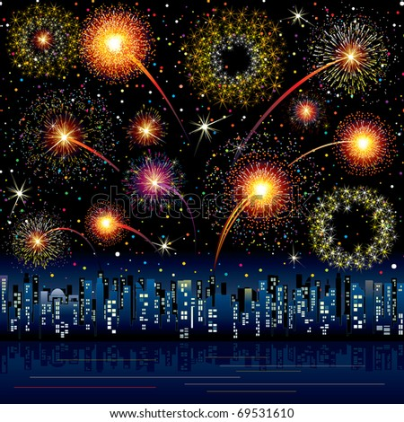 Fireworks Display over the Night City, vector illustrated background, all salute elements grouped - stock vector