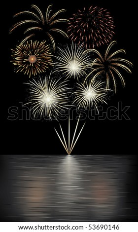 Fireworks display over the sea.