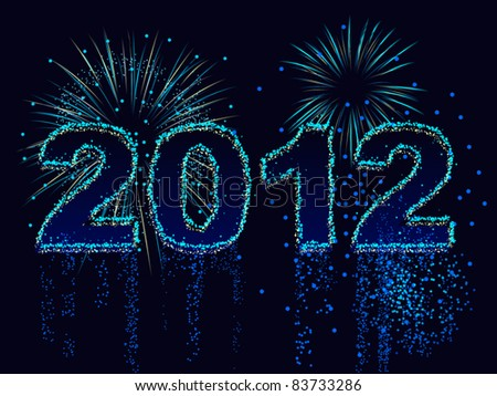Fireworks display spells out the year 2012 - stock vector