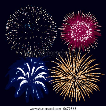 Fireworks (editable vector). In the gallery also available XXL jpeg image made from this vector - stock vector
