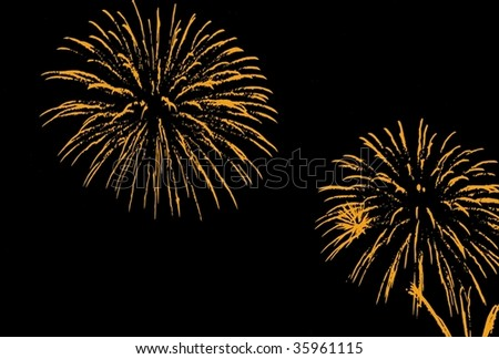 Fireworks, salute with the black sky background - stock vector