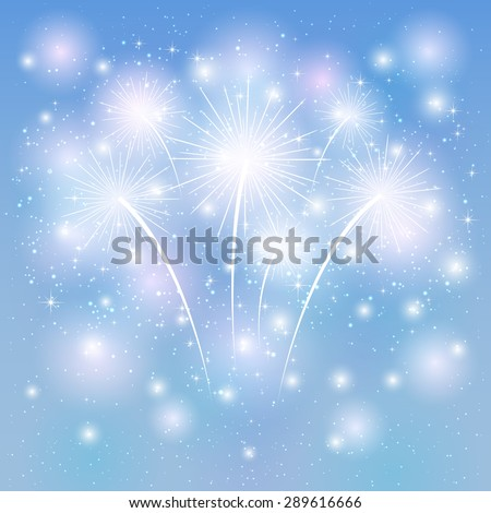 Fireworks shine on the blue background, illustration. - stock vector