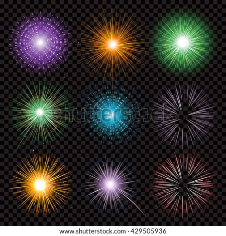 Fireworks transparency isolated on black background - stock vector