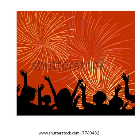fireworks with silhouette of people (people are one unit) - stock vector