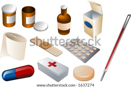 First aid kit and medical supplies, isomtric vector illustration: pills, disinfectant, bandaids, bandage, firstaid kit, thermometer, antibiotics - stock vector