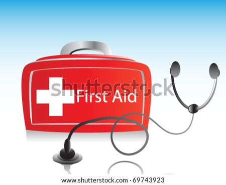 First Aid kit box with stethoscope
