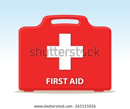 first aid kit briefcase illustration with cross - stock vector