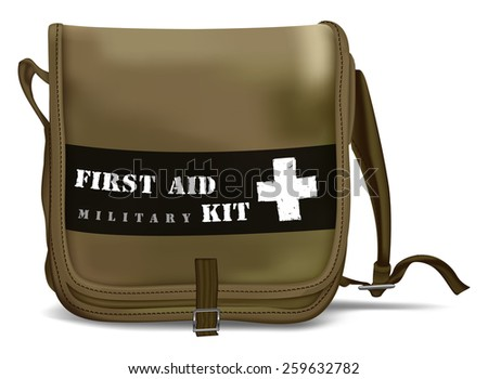 First Aid Kit Shoulder Bag with White Cross. Medical Equipment. Red Doctors Bag