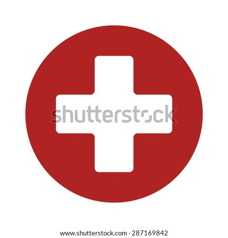 First aid medical sign flat icon for app and website - stock vector