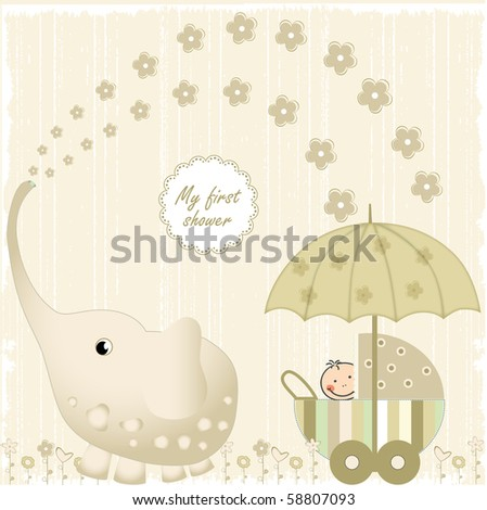first baby shower - stock vector