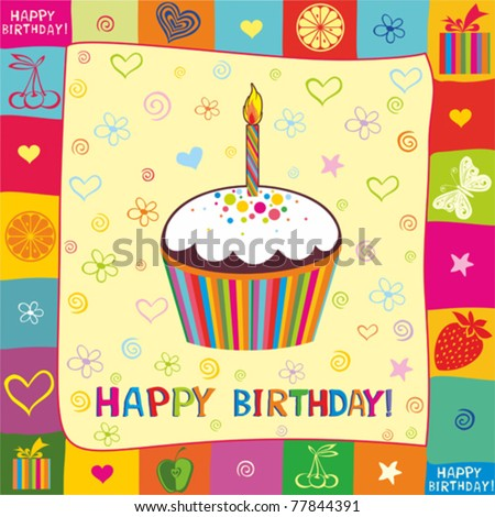 First Birthday card - stock vector