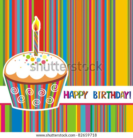First Birthday card. Illustration of cute cupcake - stock vector