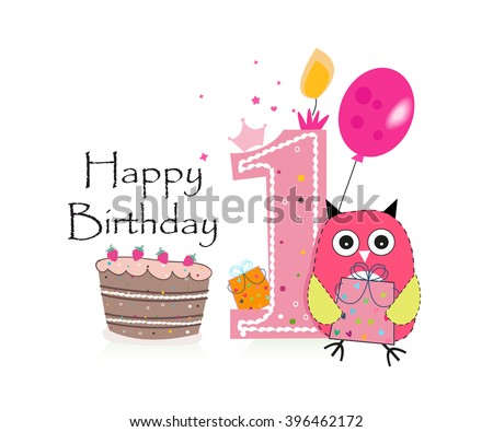 First Birthday Greeting Card Cute Pink Owl Balloon And Cake Vector Background